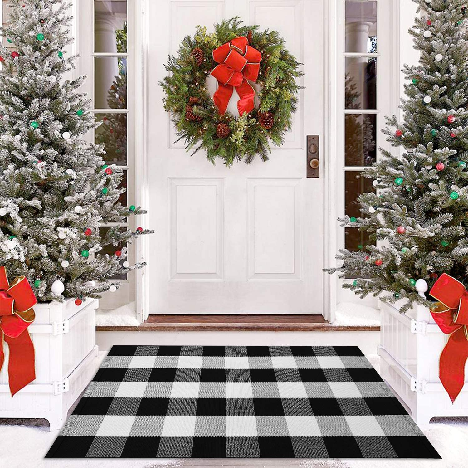 Cotton Buffalo Check Rug Outdoor Doormat 27.5 x 43 Inches Washable Woven Front Porch Decor Outdoor Indoor Welcome Mats for Front Door/Kitchen/Farmhouse/Entryway/Home Entrance Black Rug