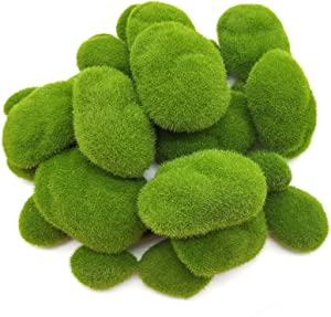 YOOHUA 30PCS 3 Size Artificial Moss Rocks Decorative, Green Moss Balls,Moss Stones, Green Moss Covered Stones, Fake Moss Decor for Floral Arrangements, Fairy Gardens and Crafting