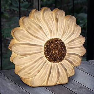 """Exhart Solar White Daisy Flower Garden Light   White Daisy w/Solar LED Accent Lights – White Decorative Light, 12"""" Inch"""