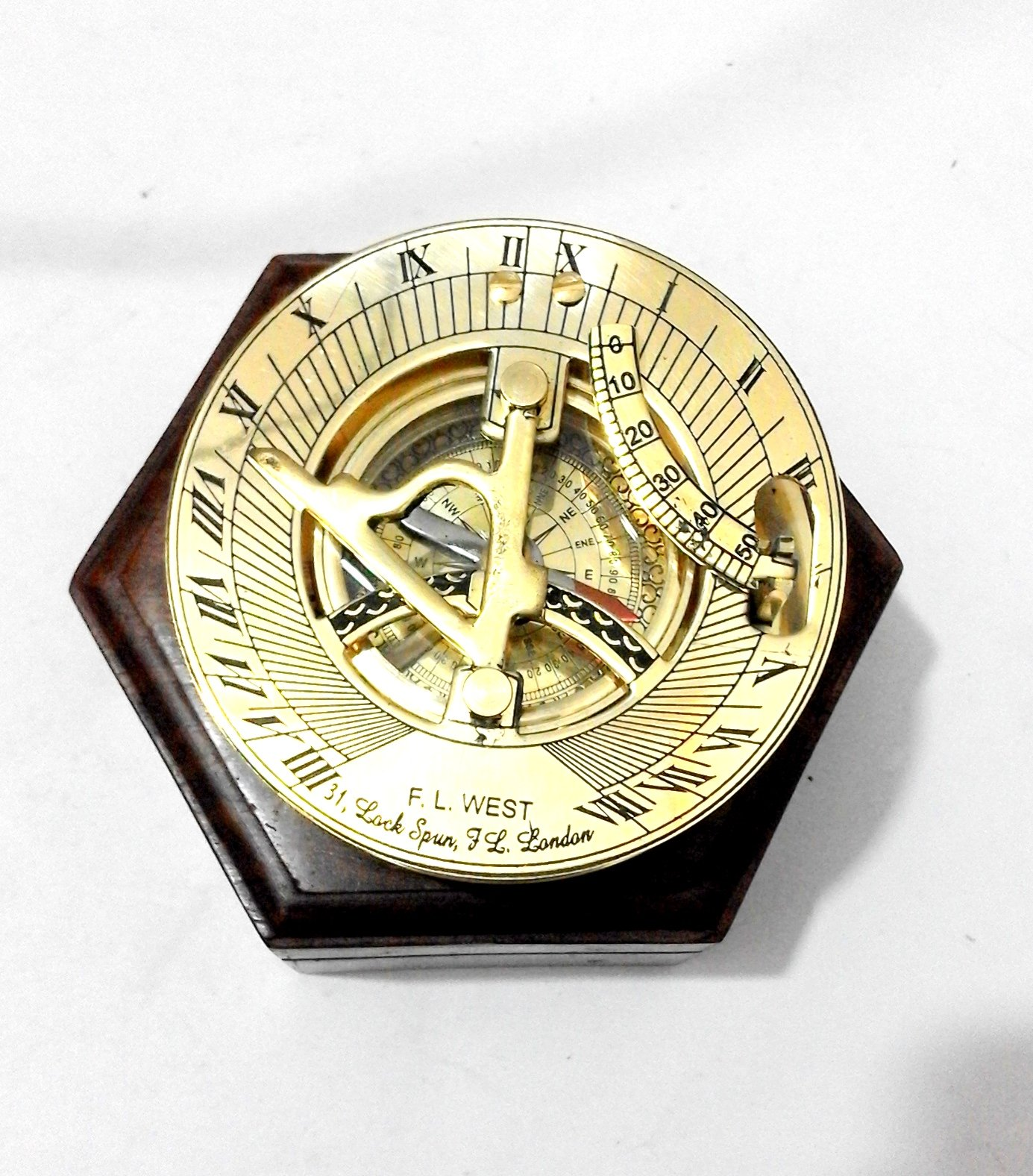 Royal Victorian Export 3'' Captain Brass Sundial Compass with Hardwood Wooden Box (Design 1)
