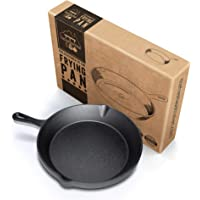 Fresh Australian Kitchen Pre-Seasoned Cast Iron Frying Pan Skillet 25cm. Heavy Duty, One Piece Forged Iron - Built to Last.