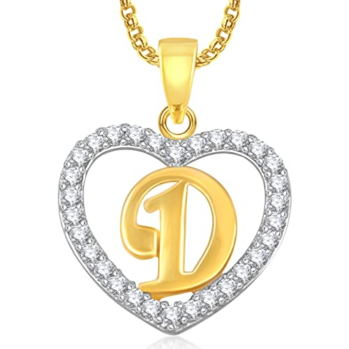 c8b9ee74b882f Buy Meenaz Gold Plated  D  Letter Alphabet Heart Pendant Locket With Chain  In American Diamond Cz Jewellery For Unisex Online at Low Prices in India  ...