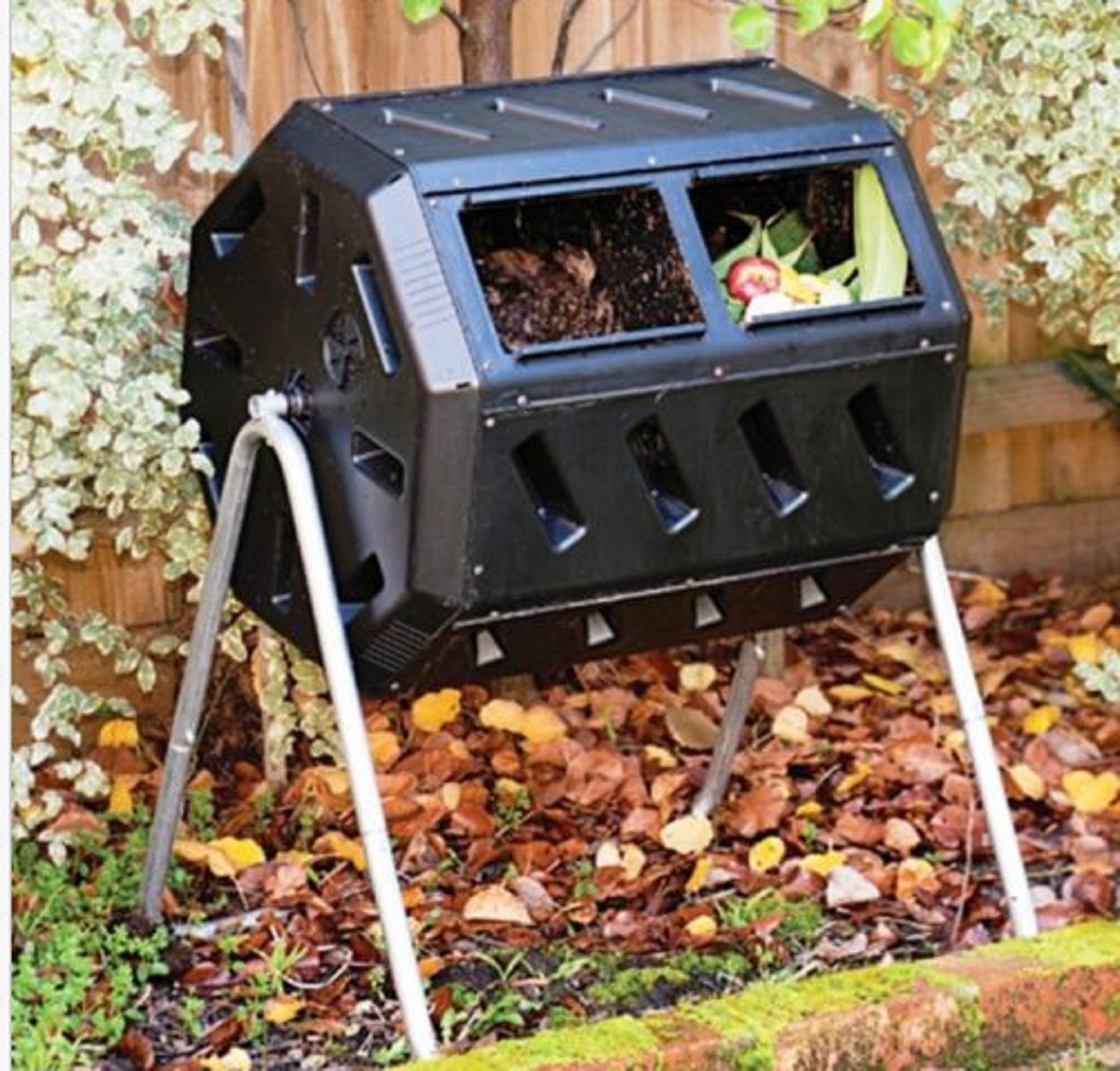 USA Premium Store Outdoor Compost Tumbler Composter Recycled Plastic 2 Chambers Garden Waste Bin