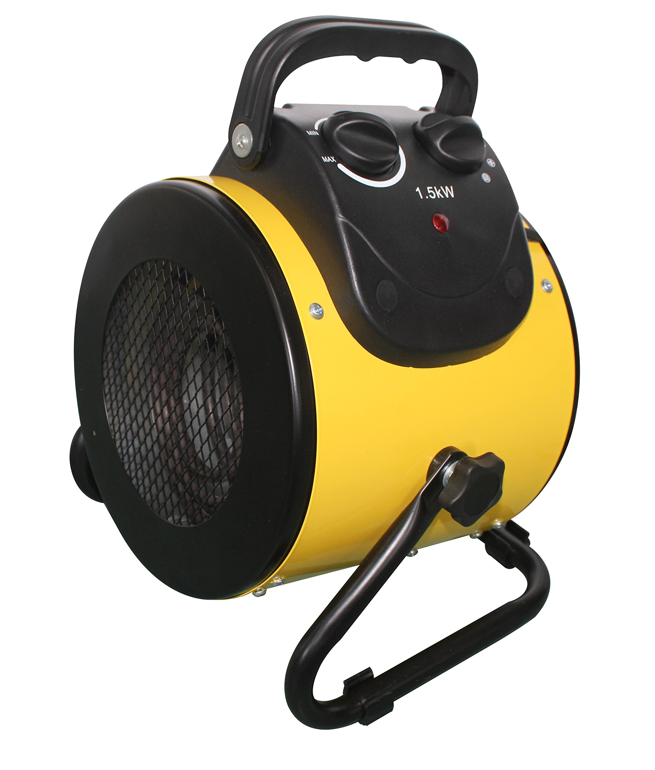 Hiland HIL-BG-E2B Electric Forced Air Heater, Variable 25/1500 Watts, w/Stand, Circular, Yellow by Hiland