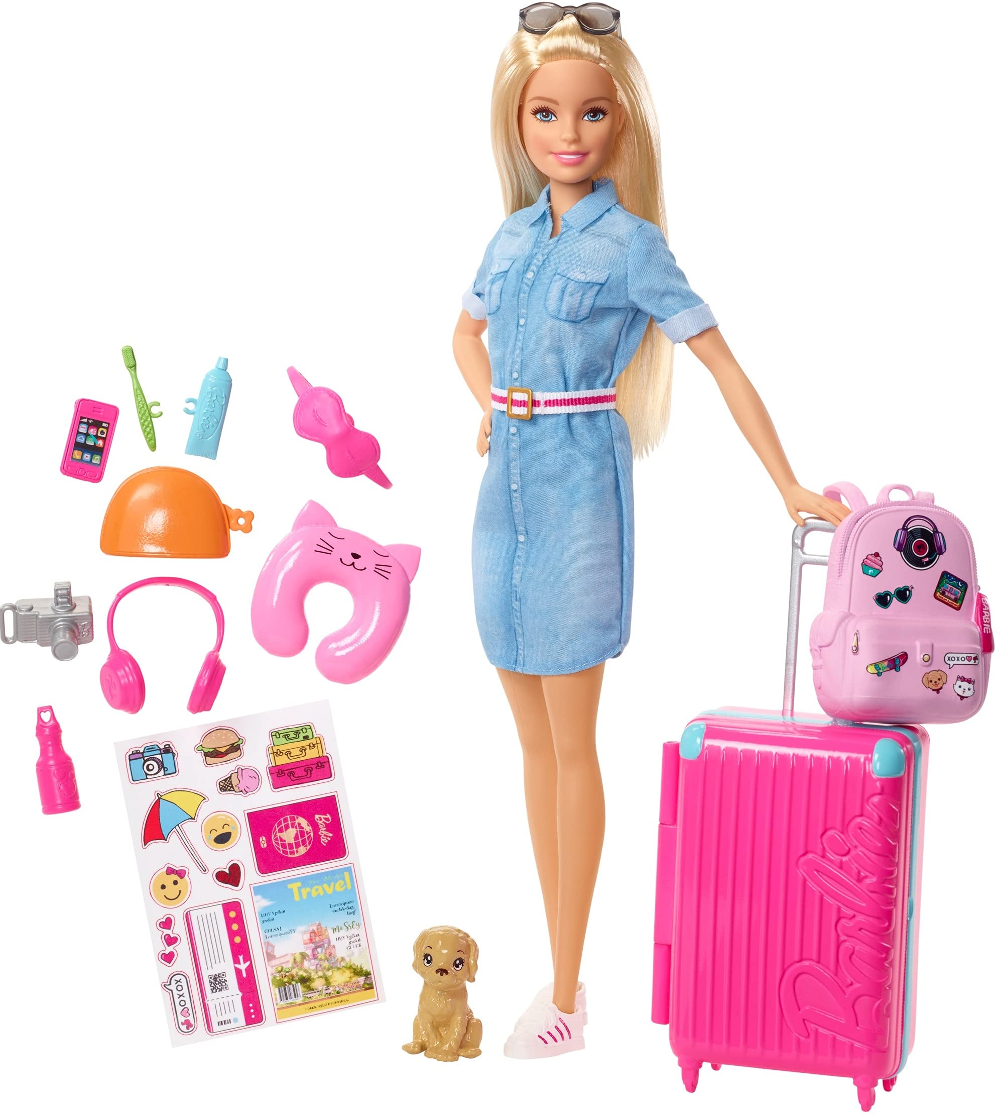 Barbie Travel Doll, Blonde, with Puppy, Opening Suitcase, Stickers and 10+ Accessories, for 3 to 7 Year Olds