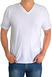 Andrew Scott Basics Classic Men's White Short Sleeve Undershirts V Neck T Shirt - 12 Pack