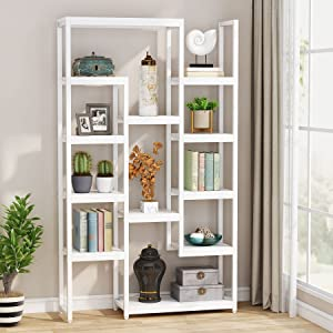 Tribesigns 6-Tier Bookshelf 70.9 inch Tall Bookcase, Modern Industrial 12-Shelf Display Shelves Book Storage Organizer for Living Room, Home Office (White)