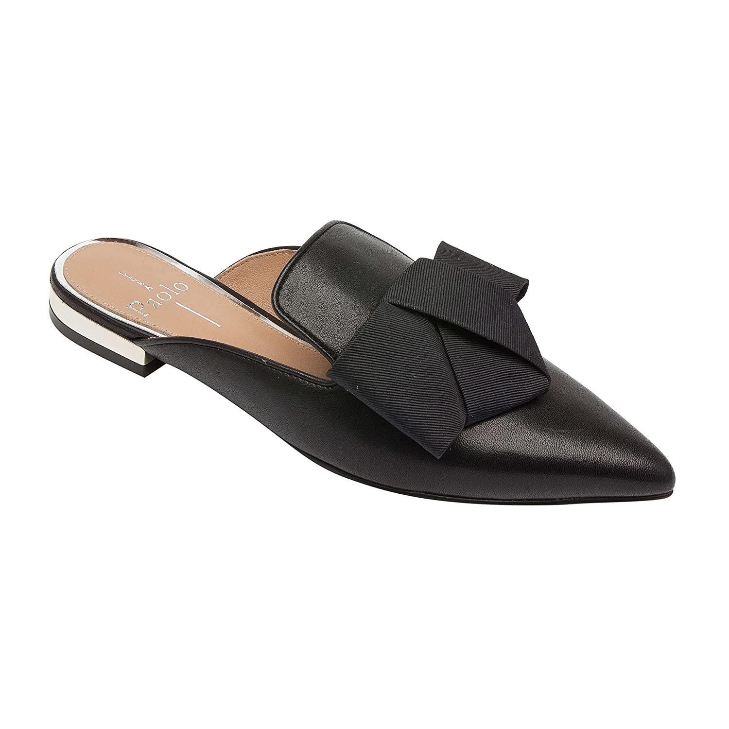 ANYA | Pointy Toe Origami Bow Slip-On Mule Flat Leather or Suede B07BC5XXKT 9 M US|Black Leather