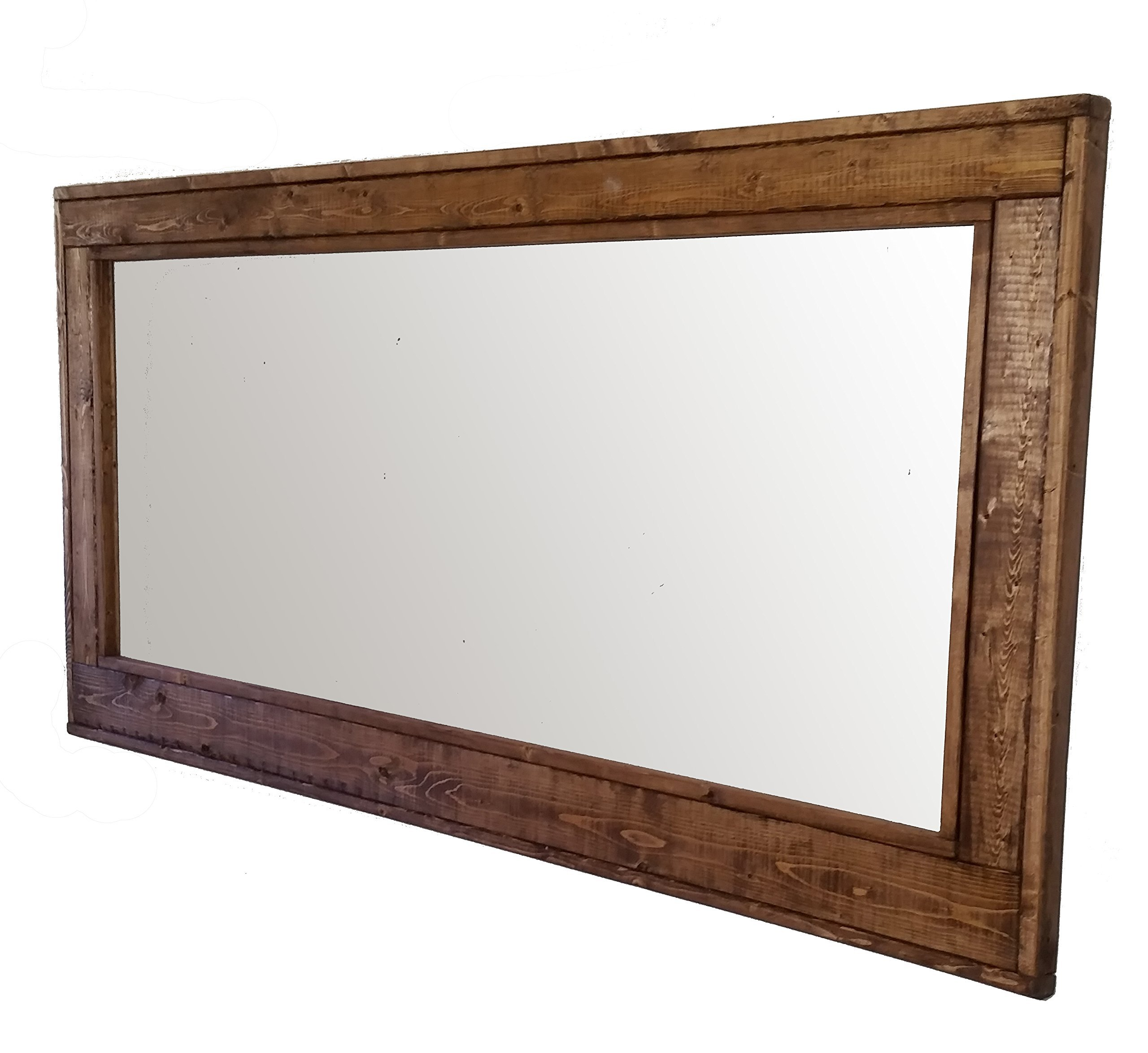 60 x 30 Herringbone Double Vanity Mirror Special Walnut Stain Reclaimed Wood Framed Mirror - Large Wall Mirror - Rustic Modern Home - Home Decor - Mirror - Woodwork by Renewed Decor