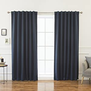 "Best Home Fashion Thermal Insulated Blackout Curtains - Back Tab/Rod Pocket - Navy - 52"" W x 102"" L - (Set of 2 Panels)"