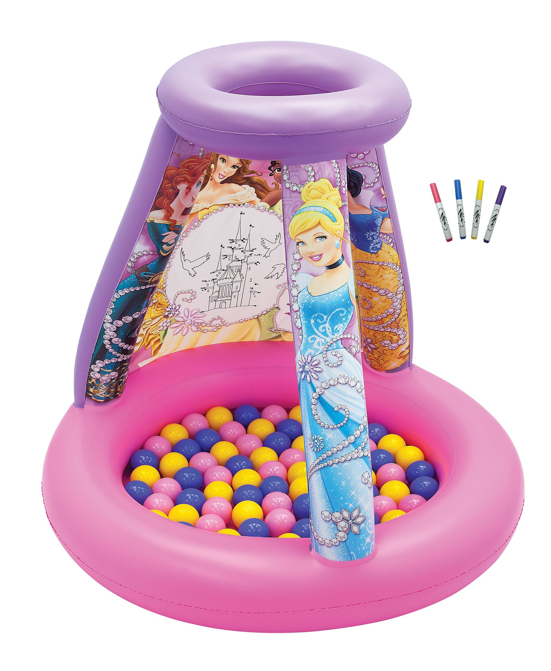 Disney Princess Color N' Play Activity Ball Pit, 1 Inflatable & 20 Sof-Flex Balls, Pink, 37'' W x 37'' D x 34'' H