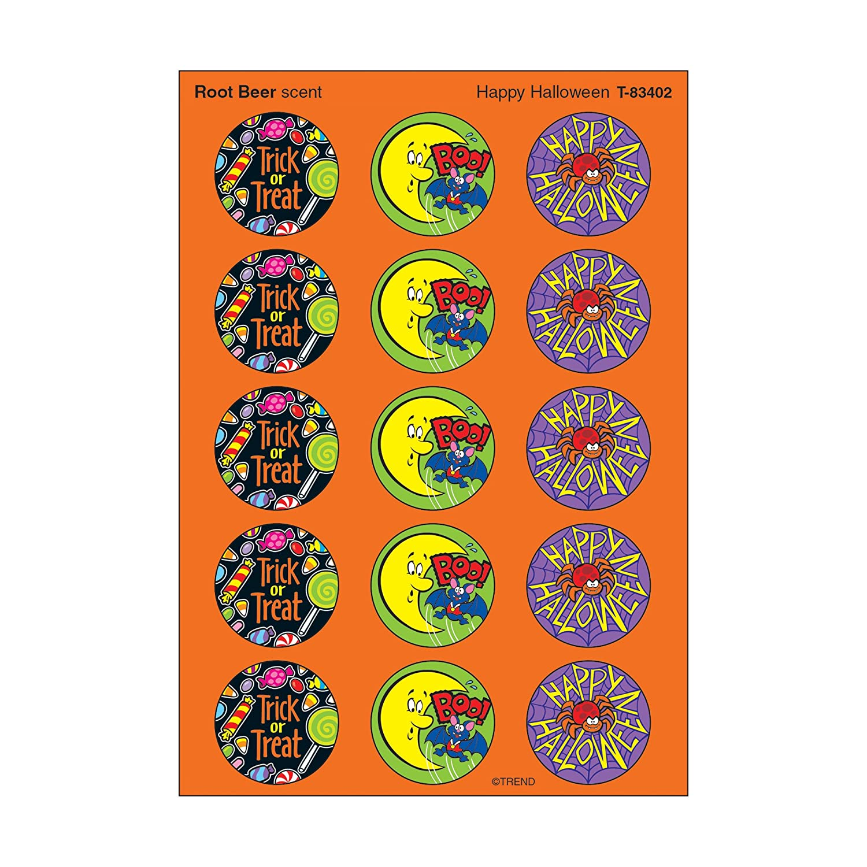 T-83402 Happy Halloween//Rootbeer Stinky Stickers Inc 60 ct TREND enterprises