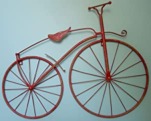 "INsideOUT 25"" Iron Antique Style Bicycle Wall Art Bike Wall Decor NEW Worn Red Color"