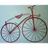 """25"""" Iron Antique Style Bicycle Wall Art Bike Wall Decor NEW Worn Red Color"""