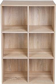 SONGMICS Meuble de Rangement Etagère de 6 casiers Bibliothèque Rayonnage, 65,5 x 30,5 x 97,5 cm (L x l x h), Couleur de Bois, LBC203H