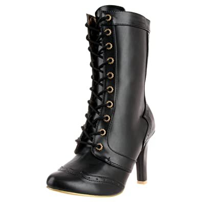 bbc7ad8db3f Summitfashions 4 Inch High Heel Western Wing Tip Ankle Boots Lace Up  Steampunk Sexy Boots Size