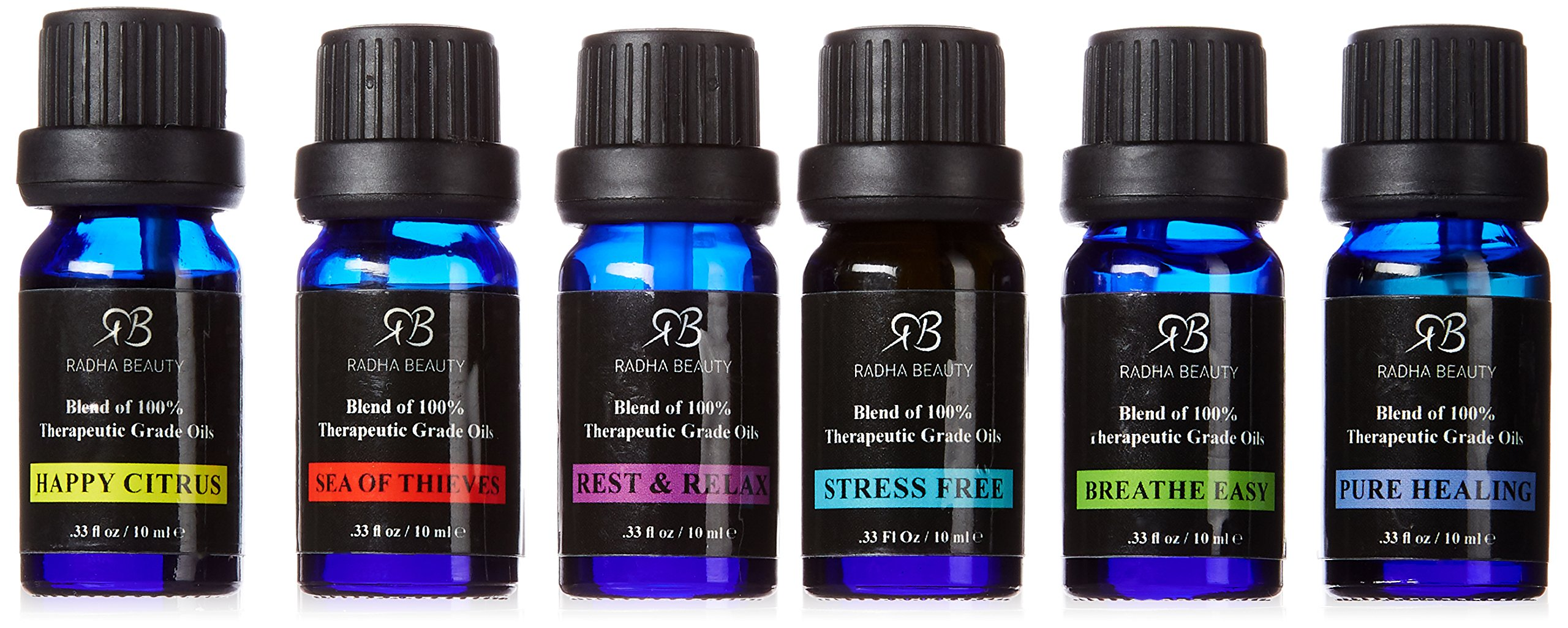 Radha Beauty Essential Oils 6 Blend set for Aromatherapy - 100% Pure Therapeutic Grade Four Thieves, Stress Free, Rest & Relax, Breathe Easy, Pure Healing, Happy Citrus, Gift Set - 6/10 ml