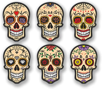 DestinationVinyl 4175 Adhesivo con forma de calavera, diseño del Día de Muertos, 6 unidades: Amazon.es: Coche y moto