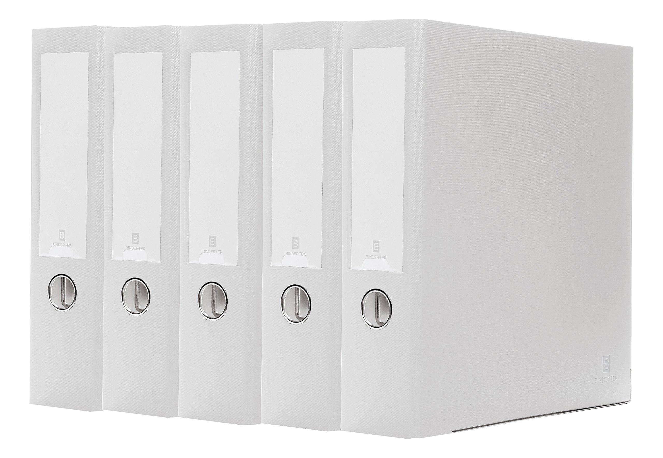 Bindertek 3-Ring 3-Inch Premium Linen Textured Binder 5-Pack, White (3EFPACK-WH)