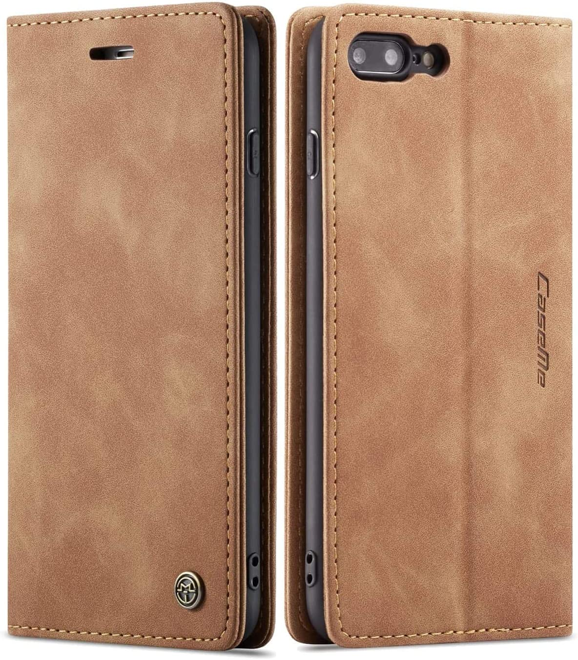 iPhone 8 Plus Wallet Case iPhone 7 Plus Leather Case, SINIANL Folio Case with Kickstand Credit Card Holder Magnetic Closure Folding Flip Book Cover Case for iPhone 7 Plus iPhone 8 Plus - Brown