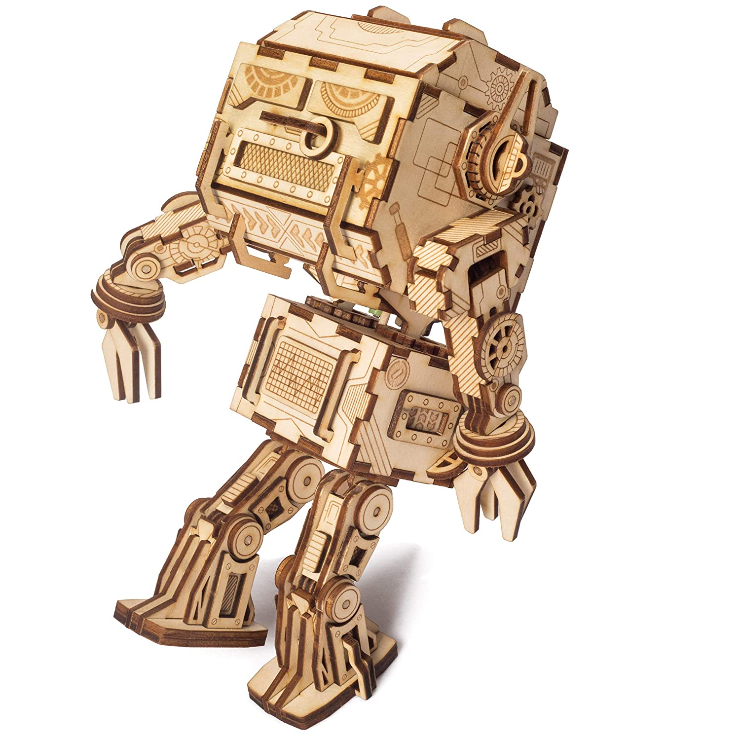 Age 14+ DIY Model Building Kits Gift for Adults /& Kids Twerking Robot Rowood Dancing Robot 3D Wooden Puzzle Brain Teaser Craft Toy