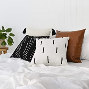 """Throw Pillow Covers and Cases, Set of 4, 18"""" x 18"""" - Modern, Boho, Decorative Cover Sets for Pillows - Couch, Bed, Home Decor - Variety Case Collection of Unique Bedding and Accessories"""