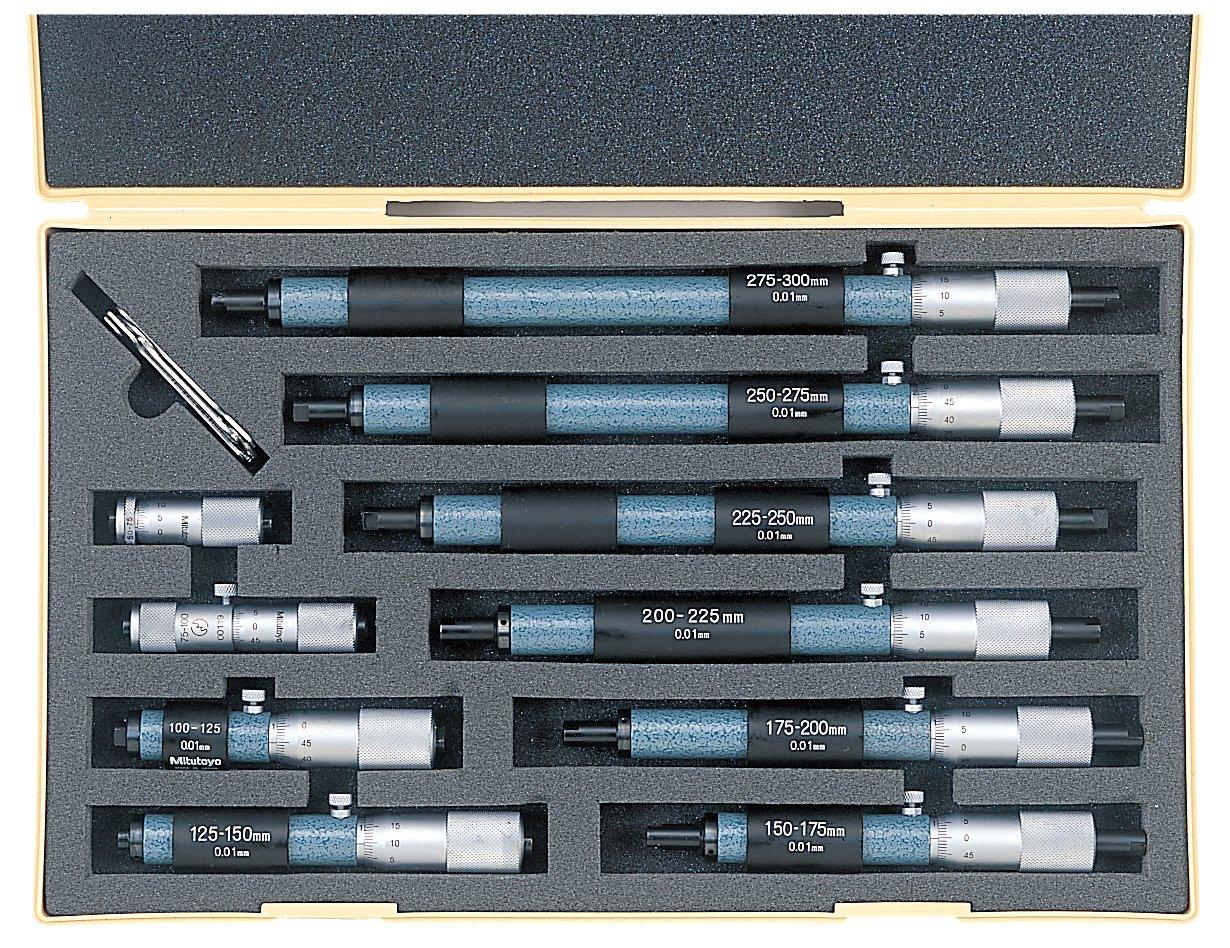 50-300mm Range 10 Piece Set +//-0.006mm Accuracy Mitutoyo 133-902 Tubular Vernier Inside Micrometer 0.01mm Graduation