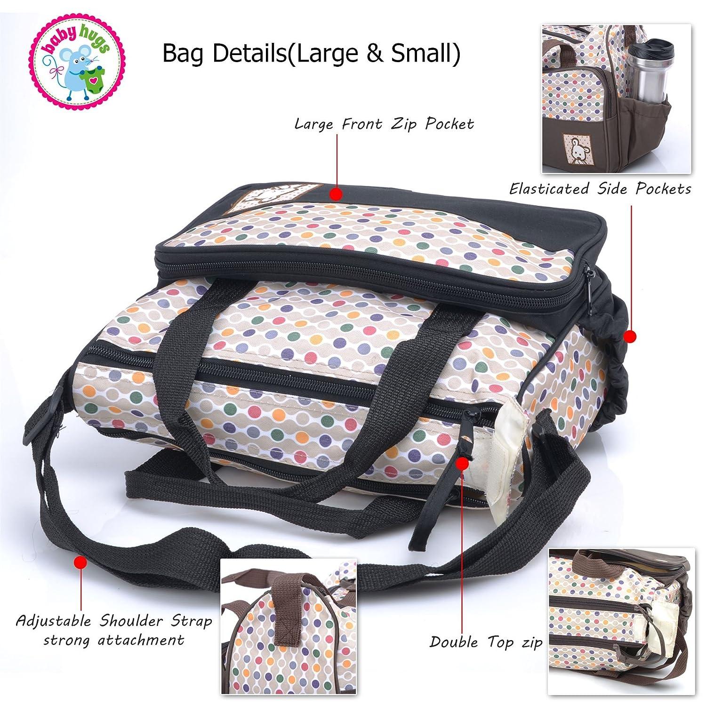 by Babyhugs 5pcs Baby Nappy Changing Diaper Messenger Hospital Maternity Bag Set Brown Dots