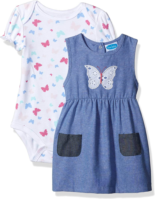 Bon Bebe Baby Girls 2 Pc Chambray Dress Set with Lap Shoulder S//s Bodysuit