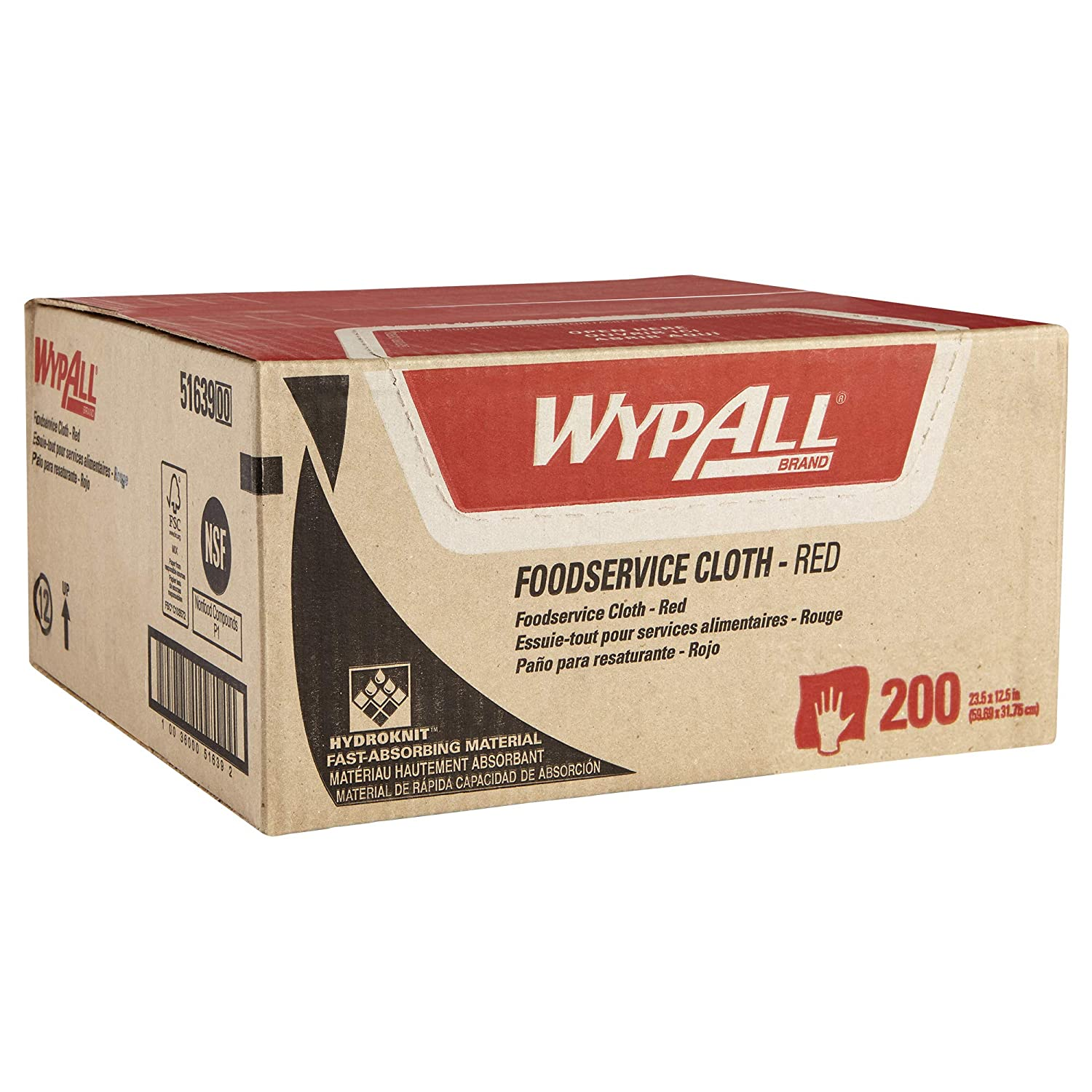 WypAll Foodservice Extended Use Reusable Cloths (51639), Quarterfold, Red Cloths, 1 Box, 200 Sheets