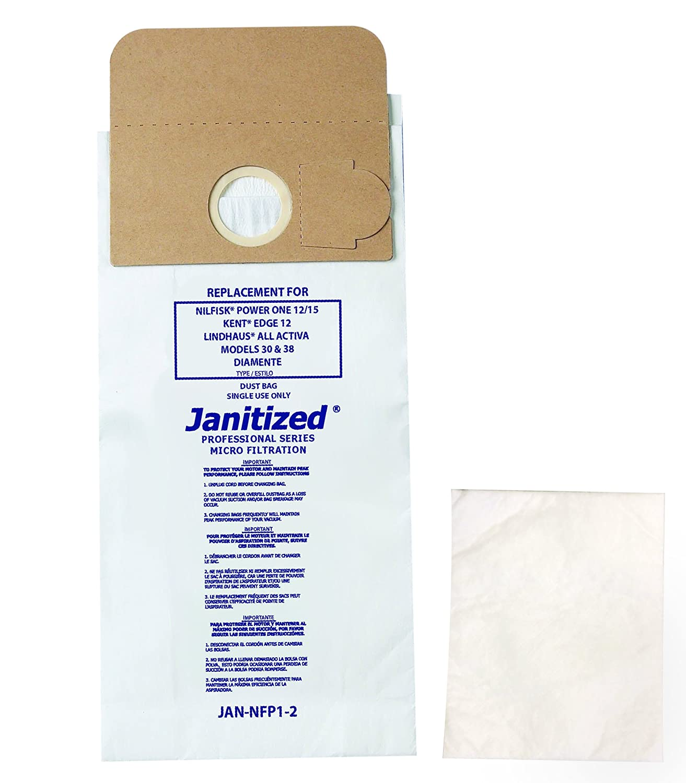 Janitized JAN-NFP1-2(10) Premium Replacement VacBag, Euroclean Kent Edge 12, OEM#704409, 704392, 31100019, 56704409 (Pack of 10)