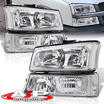 Black /& Amber Headlight Assembly Replacement for 2003 2004 2005 2006 Chevy Avalanche 03 04 05 06 07 Chevrolet Silverado 1500 2500 3500 Pickup Headlamp with Bumper Lights Passenger and Driver Side