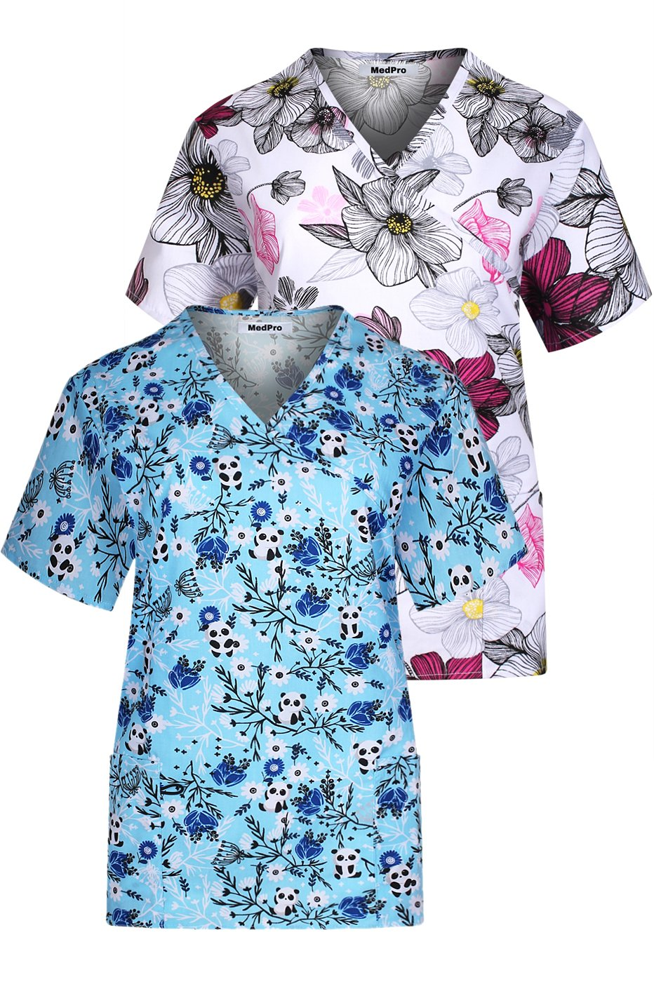 MedPro Women's Printed Mock Wrap Medical Scrub Top Multi Pack White Blue S by MedPro (Image #1)