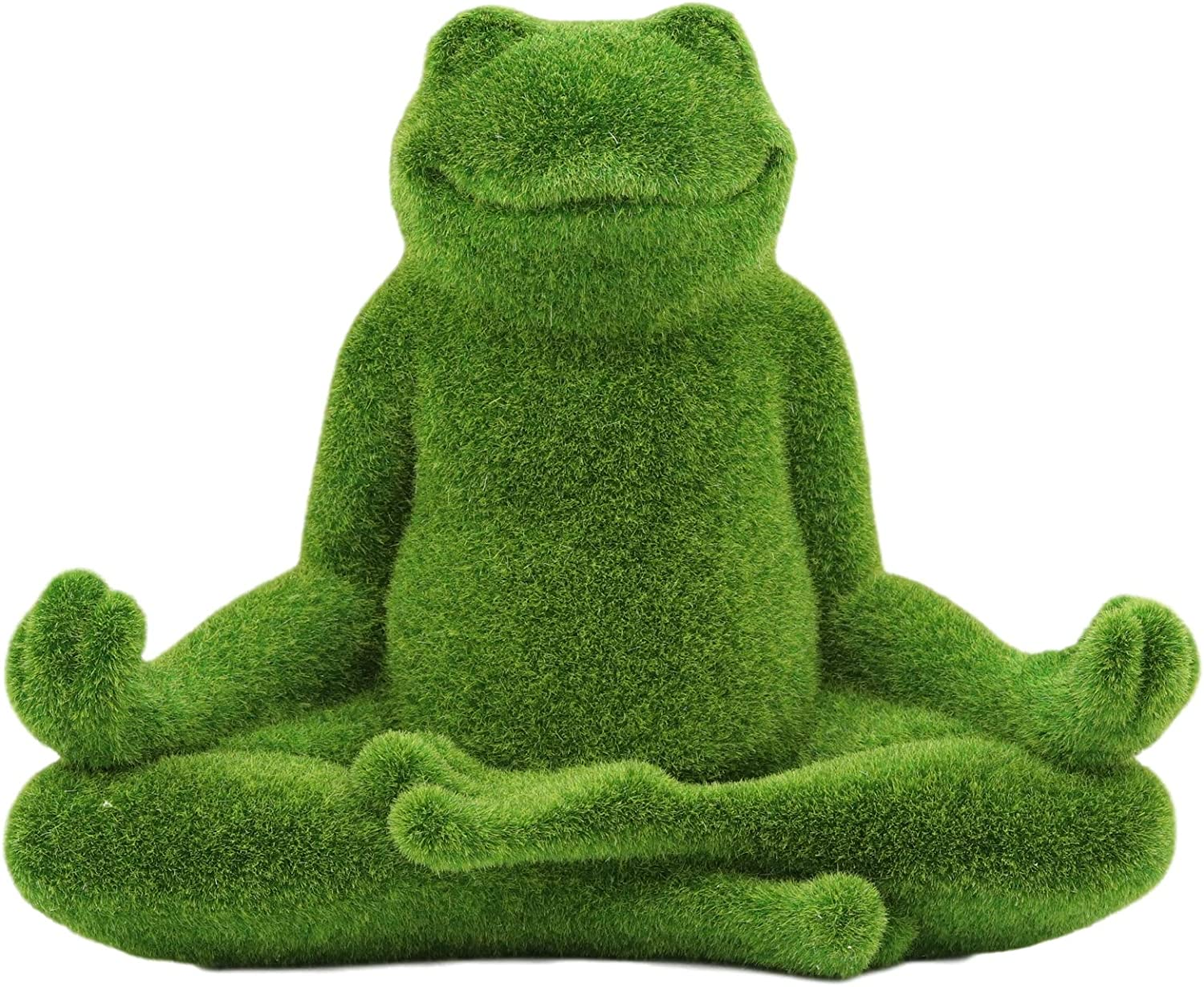 Ebros Whimsical Meditating Yoga Frog Lotus Pose Garden Statue in Flocked Artificial Moss Finish Resin Sculpture Guest Greeter Home Decor Outdoors Patio Flower Bed Frogs Toads Zen Feng Shui Sculpture