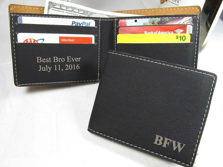 3d2bb918756d Personalized Leather Bifold Wallet Custom Mens Wallet Groomsmen Groomsman  Gifts Black 85%OFF