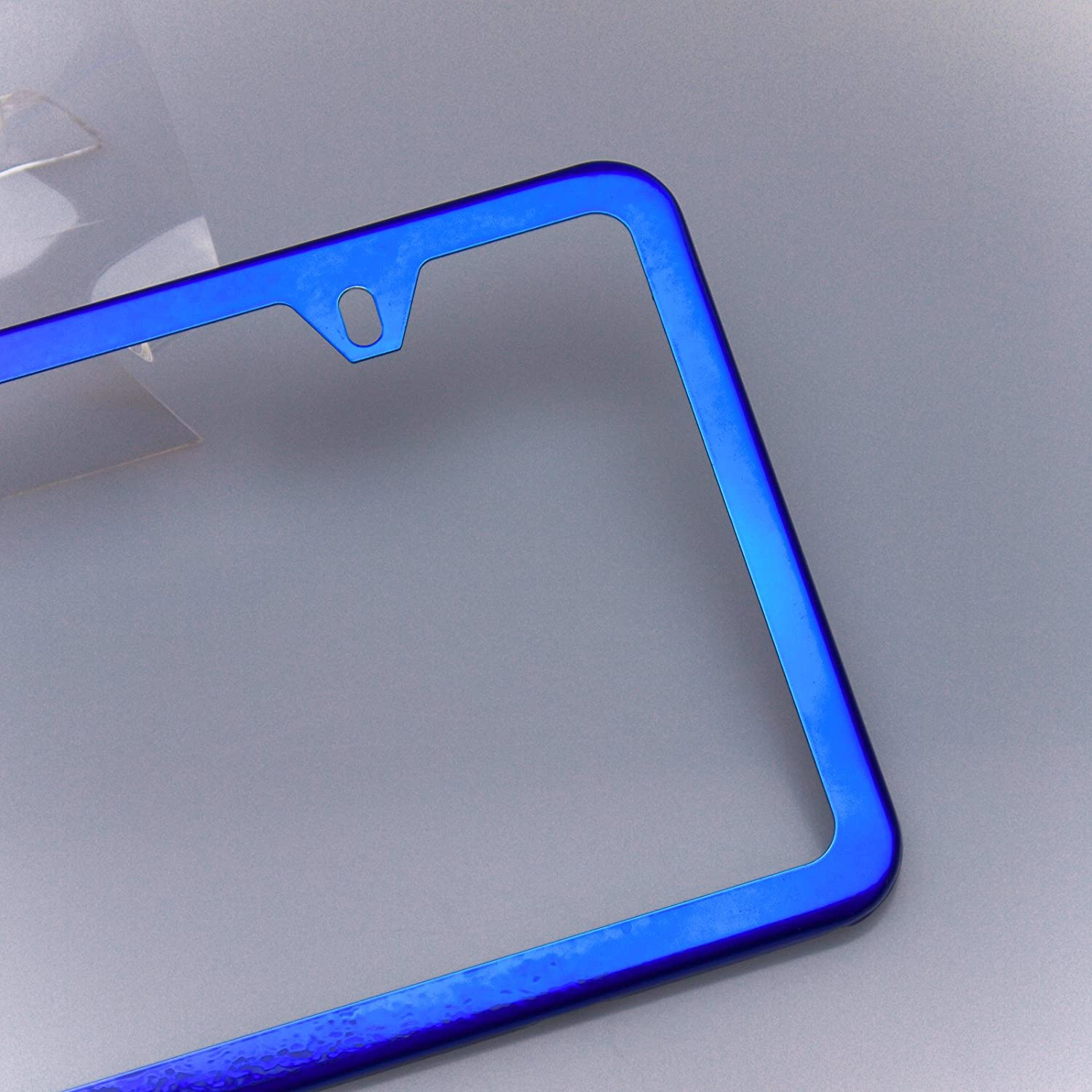 Amazon.com: Circle Cool Blue Chrome Powder Coated Stainless Steel License Plate Slim Two Hole Frame Holder Bracket: Automotive