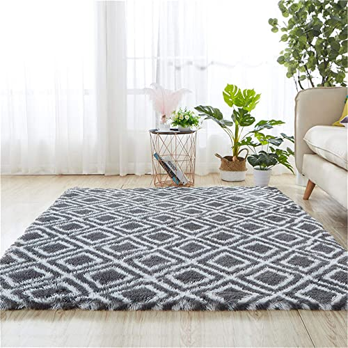 Rainlin 5×8 Modern Fluffy Rug Grey Indoor Fuzzy Carpets Faux Fur Alfombras Anti-Slip Living Room Bedroom Trellis Geometry Pattern Rug