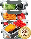 [5 Packs]Glass Meal Prep Containers 3 Compartment with Lids, Glass Lunch Containers,Food Prep Lunch Box,Bento Box,BPA-Free, Microwave, Oven, Freezer, Dishwasher Safe (36 oz)