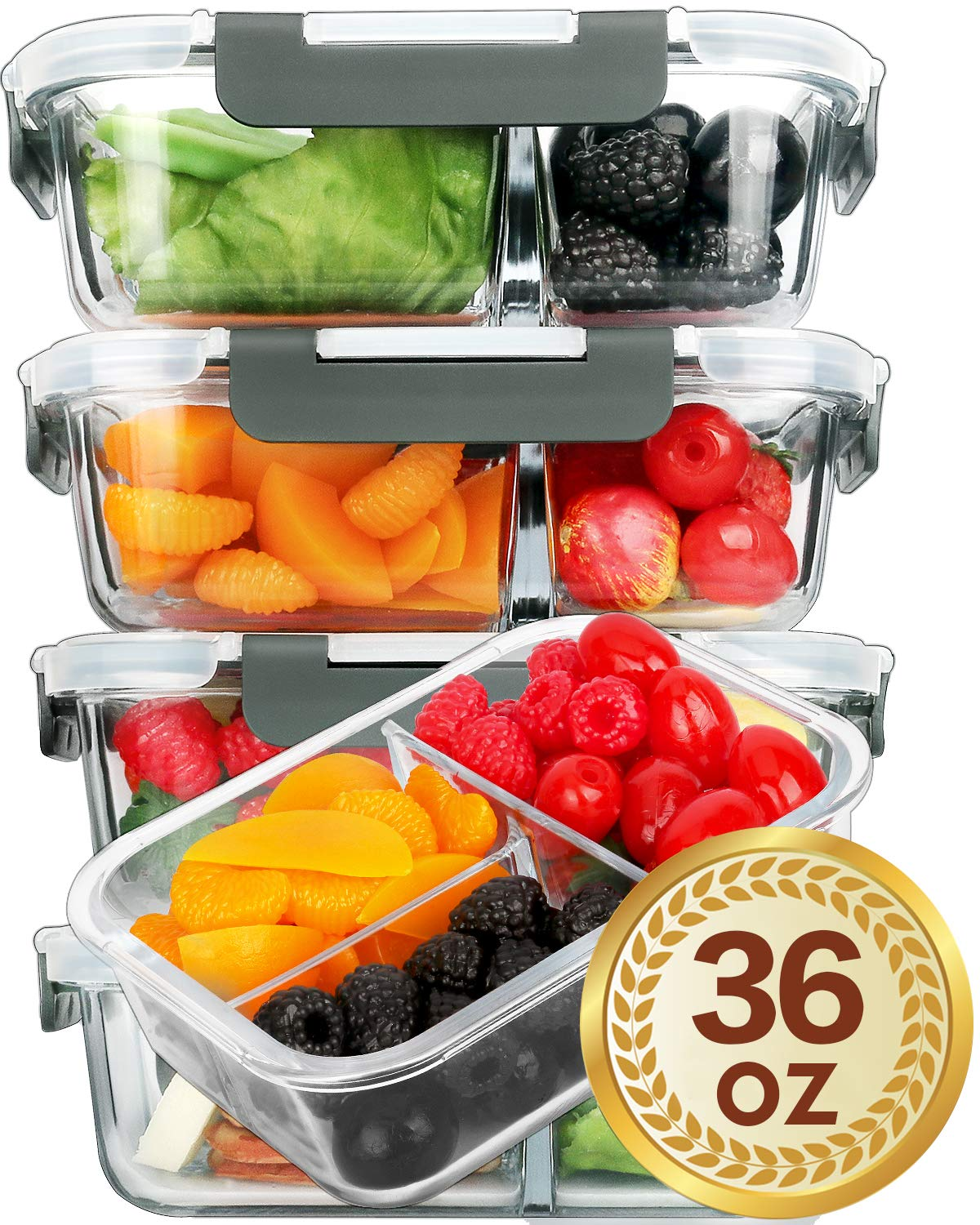 Sturdy Glass 3-compartment Meal Boxes
