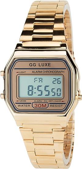 Reloj Mujer GG LUXE Oro Rosa Cuarzo Acero Rectángulo Alarma Cronógrafo Luz Pantalla Digital Led Water Resist 3 ATM Deporte Pulsera Oro Rosa Acero: ...
