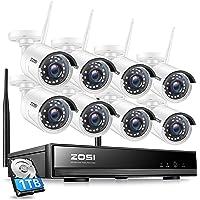 ZOSI Kit de Cámara de Vigilancia WiFi Inalámbrico 8CH H.265+ 1080P Grabador NVR con (8) Cámara de Seguridad Exterior…