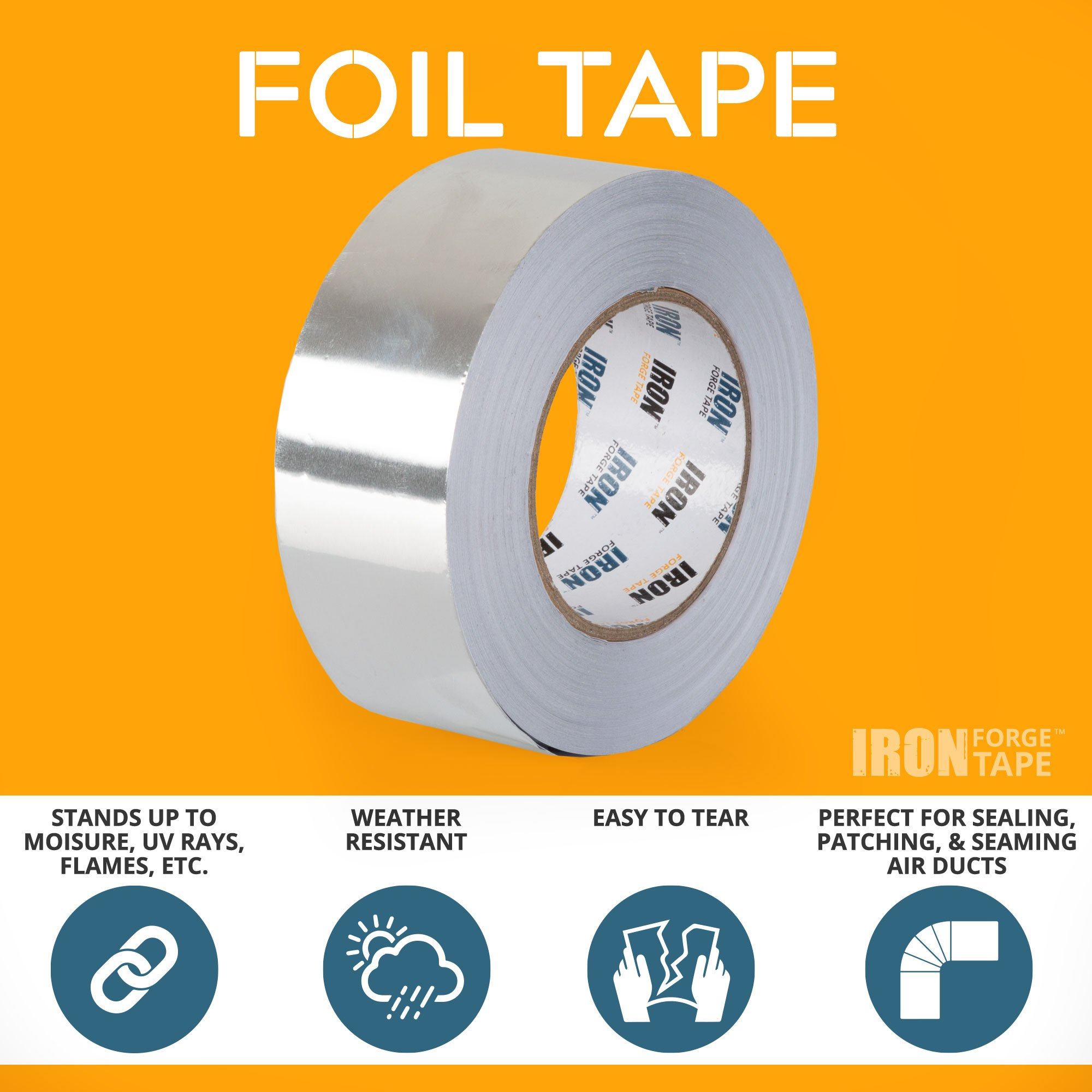 Aluminum Foil Tape Roll - 2 inch x 55 Yards Heavy Duty Tin Foil Duct Tape for HVAC by Iron Forge Tools (Image #2)