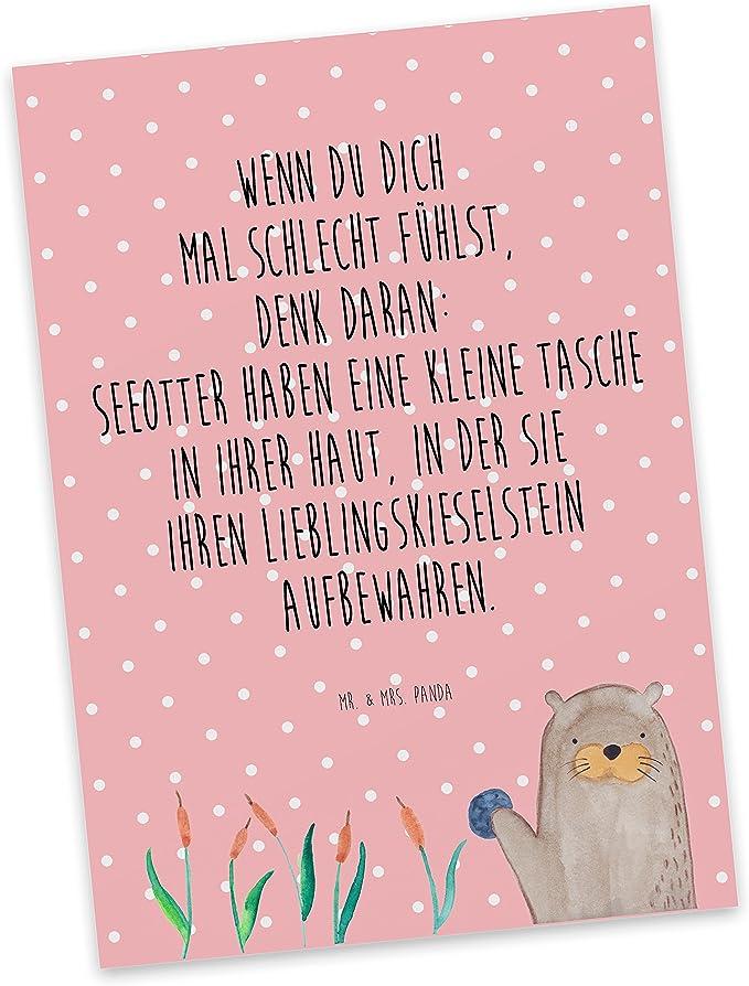 Ansichtskarte /& Mrs Farbe Wei/ß Panda Spr/üche Mr Postkarte Otter mit Stein mit Spruch