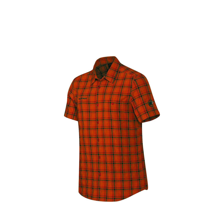 Mammut Herrenhemd Kurzarm Belluno Shirt Men Grün Orange karo Outdoorhemd Trekking Freizeit Hemden Sportlich Hemd