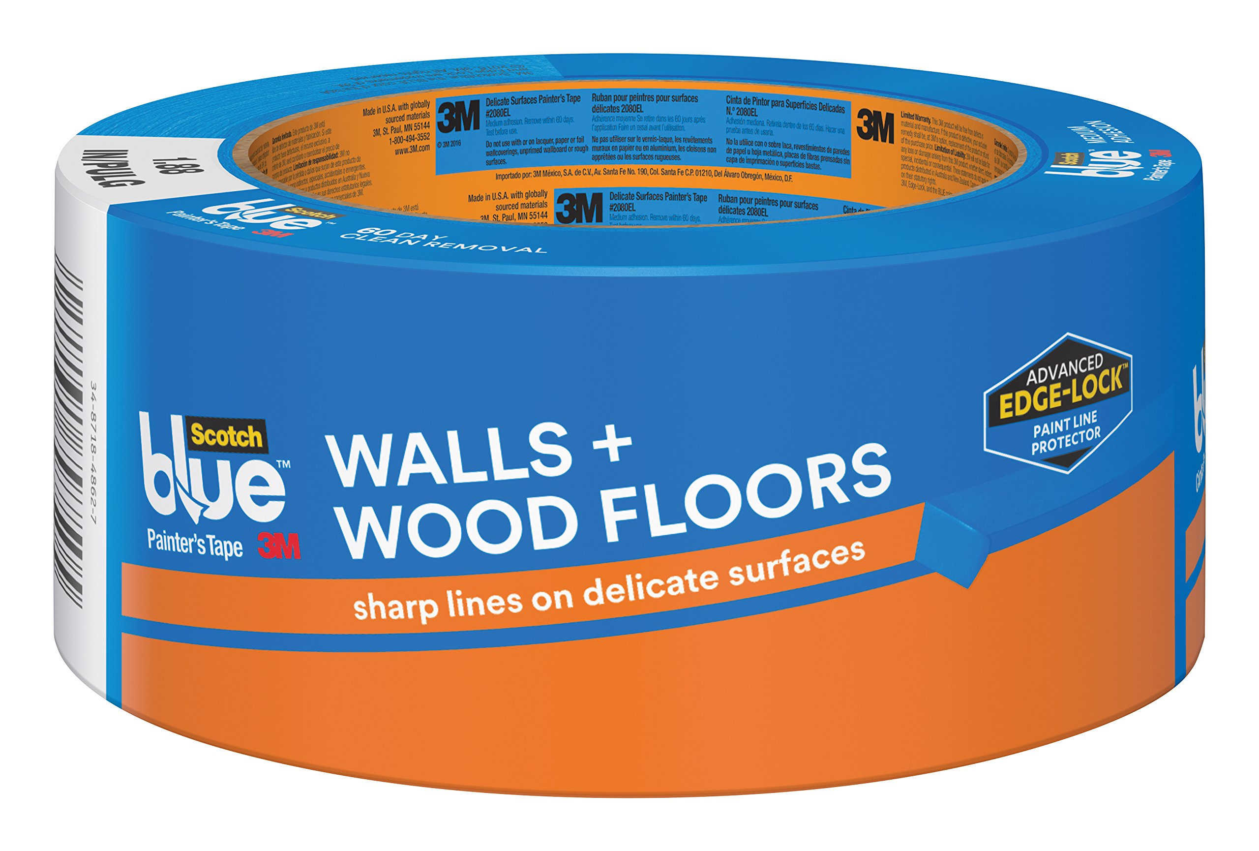 ScotchBlue WALLS + WOOD FLOORS Painter's Tape, 1.88-Inch x 60-Yards, 1 Roll