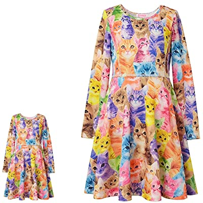 QPANCY Matching Doll&Girls Dresses Long Sleeve Unicorn Outfits Cotton Clothes: Clothing [5Bkhe0501235]