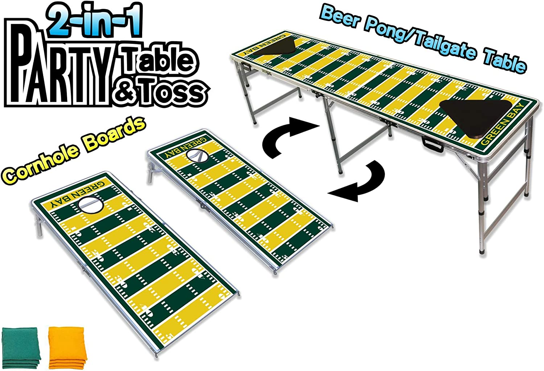2イン1 Cornholeボード&ビールPong表W /オプションLEDグローライト – グリーンベイサッカーフィールド 緑 Bay Football Field