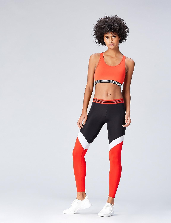 Activewear Sporttop Damen V-Ausschnitt und Colour Blocking-Design