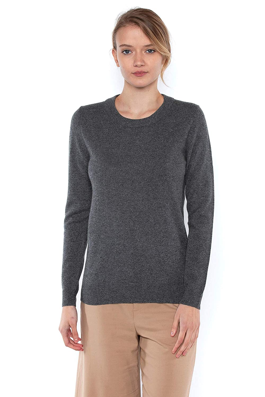 Charcoal JENNIE LIU Women's 100% Pure Cashmere Long Sleeve Crew Neck Sweater