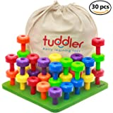 Brightly Colored Stackable Pegs and Peg Board Set / Montessori Educational Toy for Toddlers and Kids + Pattern Card + Drawstring Backpack for portability and neat storage + Ebook by Tuddler